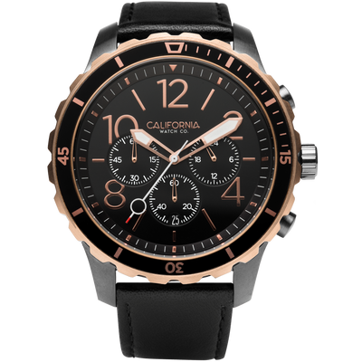 Mavericks Chrono Leather Gunmetal Rose Gold California Watch Co