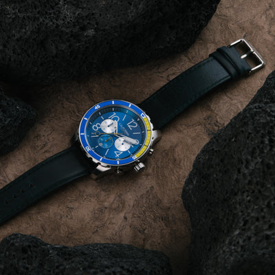 California Watch Co Mavericks Chrono Leather Navy Yellow