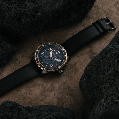 California Watch Co Mavericks Chrono Leather Gunmetal Rose Gold