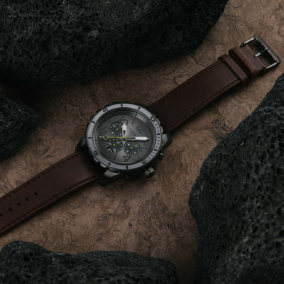 California Watch Co Mavericks Chrono Leather Gunmetal Brown