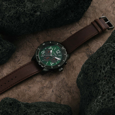 California Watch Co Mavericks Chrono Leather Dark Brown Green