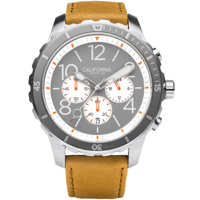 Mavericks Chrono Leather Sand Gray White California Watch Co