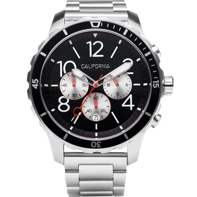Mavericks Chrono SS Silver Black California Watch Co