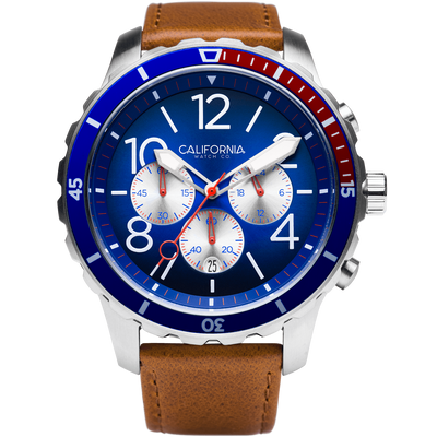 Mavericks Chrono Leather Brown Navy Red California Watch Co