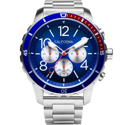 Mavericks Chrono SS Navy Red California Watch Co