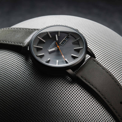 California Watch Co Mojave Leather Gunmetal Orange