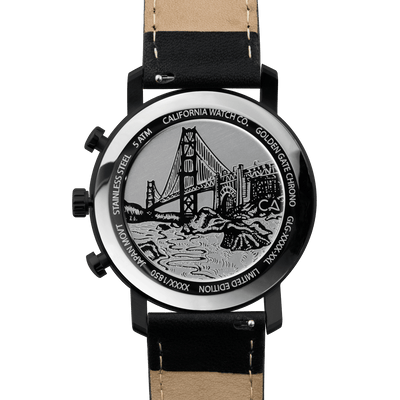 California Watch Co. Golden Gate Chrono Leather All Black Gold caseback