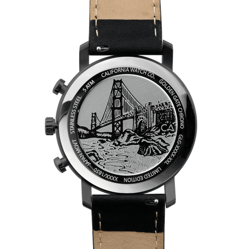 California Watch Co. Golden Gate Chrono Leather Gunmetal Red main