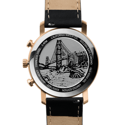 California Watch Co. Golden Gate Chrono Leather Rose Gold Black caseback