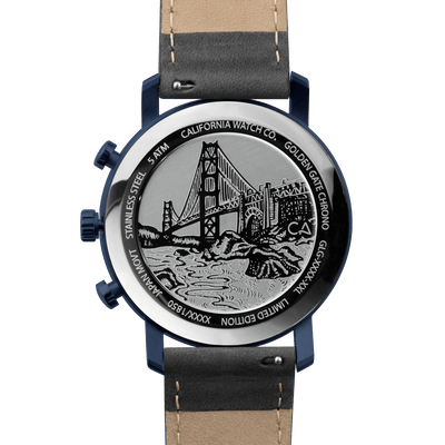 California Watch Co. Golden Gate Chrono Leather Deep Blue Gray caseback