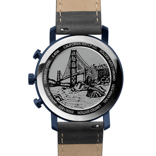 California Watch Co. Golden Gate Chrono Leather Deep Blue Gray main