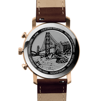 California Watch Co. Golden Gate Chrono Leather Rose Gold White caseback
