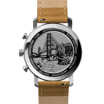 California Watch Co. Golden Gate Chrono Leather Sand White caseback