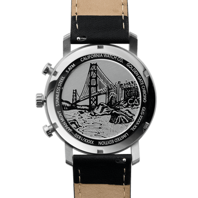 California Watch Co. Golden Gate Chrono Leather Silver Black caseback