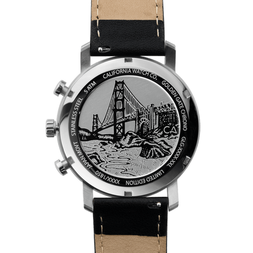 California Watch Co. Golden Gate Chrono Leather Silver Black main