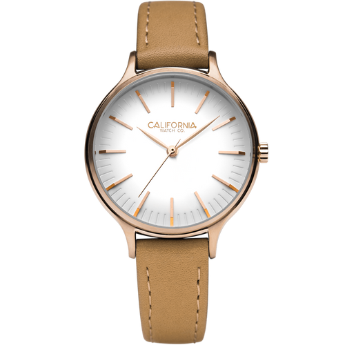 Laguna 34 Leather Natural Rose Gold California Watch Co