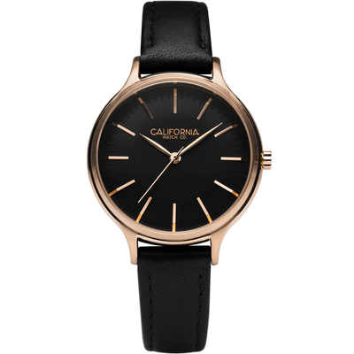 Laguna 34 Leather Rose Gold Black California Watch Co