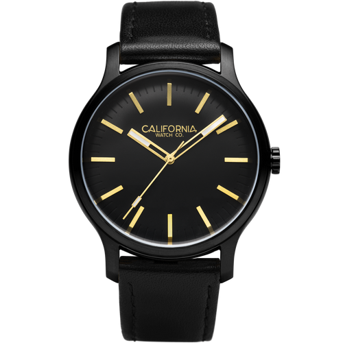 Laguna 40 Leather All Black Gold California Watch Co