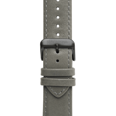 22mm Leather Gray Gunmetal