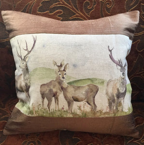 Stag Silk Panel Cushion - Fudge