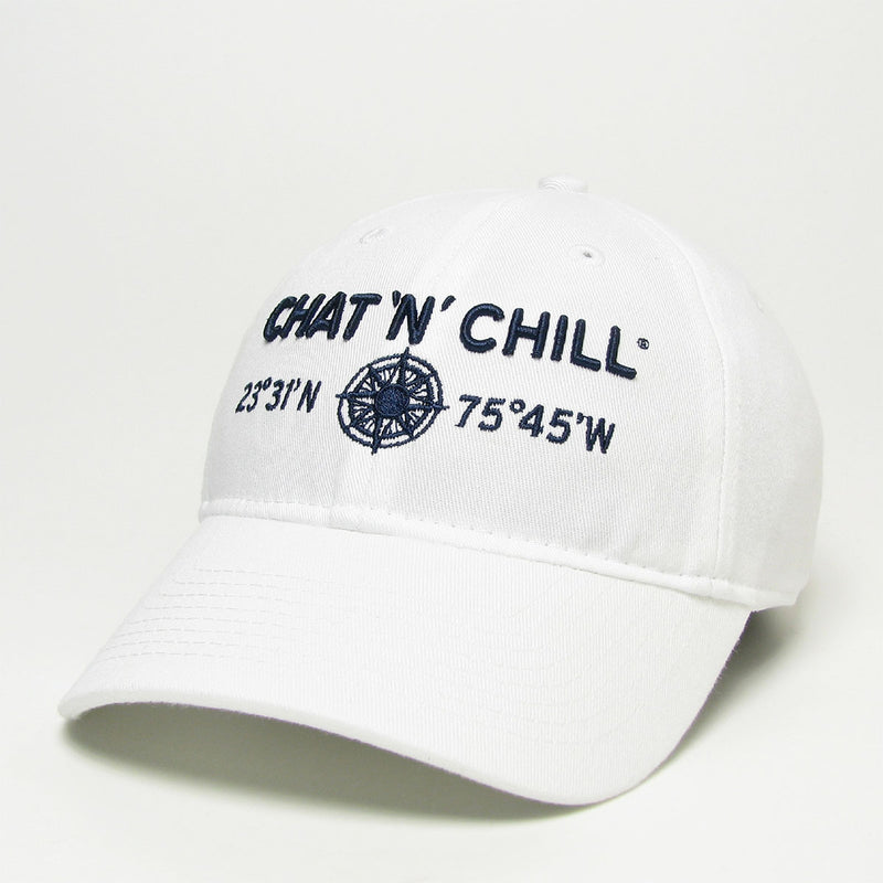Chat 'N' Chill® Relaxed Twill Compass Hat White
