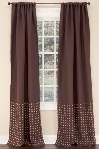Stately Window Treatments Emdee Drapery Burlap Button Chocolate 11836-C