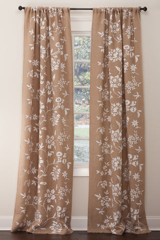 Stately Window Treatments Emdee Drapery Burlap Floral Natural 11850-N