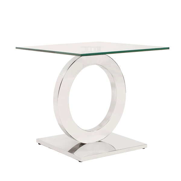 Square Stainless Steel End Table with Circular Base