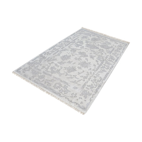 The Gables Harappa Handknotted Wool Rug In Silver And Ivory - 9ft x 12ft - 8905-283