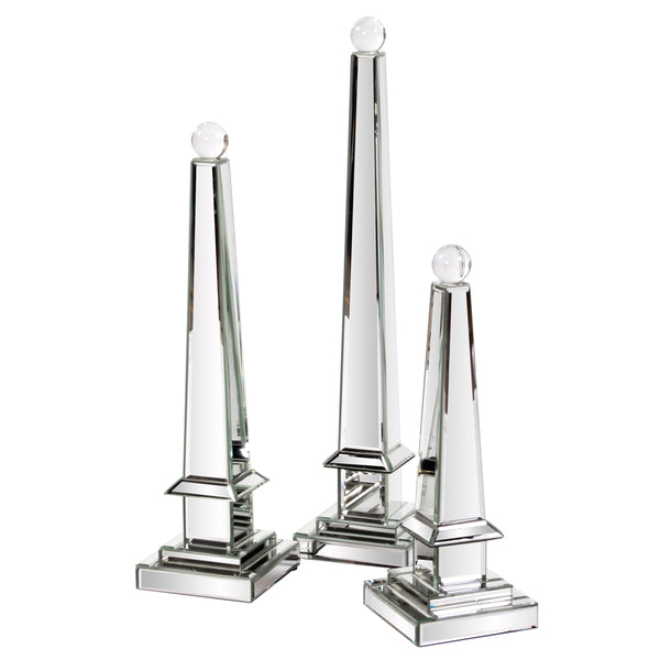 Mirrored Obelisk with Glass Ball - Small