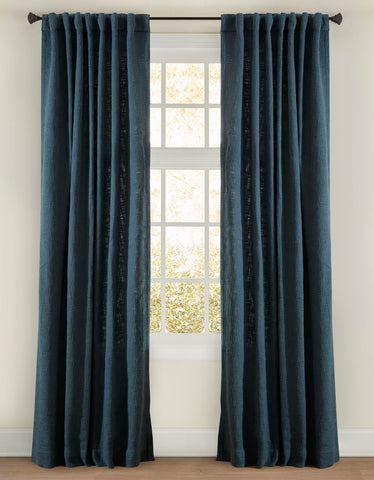 Stately Window Treatments Emdee Drapery Boucle Indigo 12010