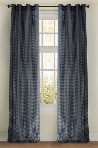 Stately Window Treatments Emdee Drapery Check Sheer Blue 11875