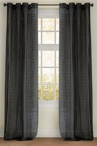 Stately Window Treatments Emdee Drapery Check Sheer Charcoal 11874