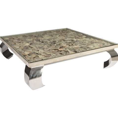 Phillips Collection Shell Coffee Table, Glass Top, Ming Stainless Steel Legs Silver,Grey,Assorted PH81449