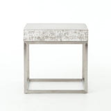 Concrete And Chrome End Table