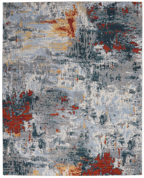 Nourison Artworks ATW03 Grey Multicolor 9'x12'   Rug - 9' x 12' Rectangle Slate/Brick Rug - ATW03 - 99446710826