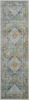 Nourison Ankara Global 8' Runner Blue and Green Farmhouse Area Rug - 2' x 8' Runner Blue/Green Rug - ANR07 - 99446457301