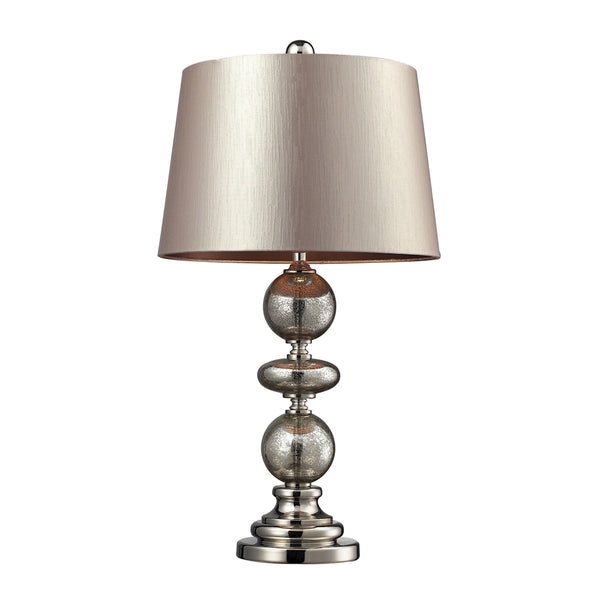 Crown Lighting Dimond Collection Hollis Table Lamp In Antique Mercury Glass And Polished Nickel - D2227