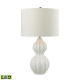 Crown Lighting Dimond Collection Ribbed Gourd LED Table Lamp in Gloss White Ceramic - D2575-LED