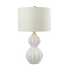 Crown Lighting Dimond Collection Ribbed Gourd Table Lamp in Gloss White Ceramic - D2575