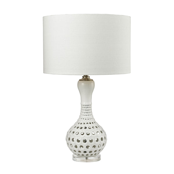Crown Lighting Dimond Collection Open Work Table Lamp in Gloss White Ceramic - D2605