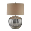 Crown Lighting Dimond Collection Oversized Ribbed Ceramic Table Lamp in Silver - D2640
