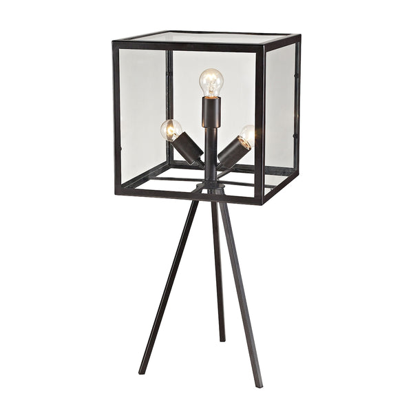 Crown Lighting Dimond Collection Workshop Glass 3 Light Cube Table Lamp in Aged Bronze - D2658