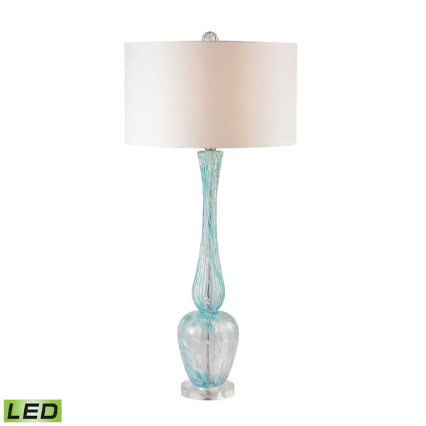 Crown Lighting Dimond Collection Swirl Glass LED Table Lamp in Light Blue With White Faux Silk Shade - D2662-LED