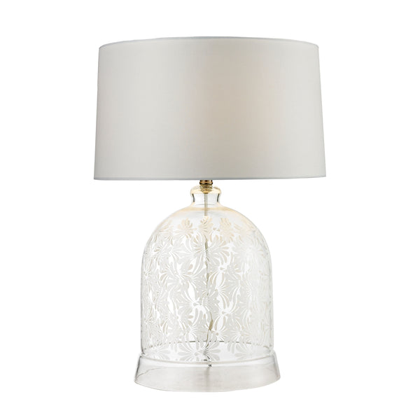 Crown Lighting Dimond Collection Landscape Painted Bell Glass Table Lamp in Clear And White - D2728