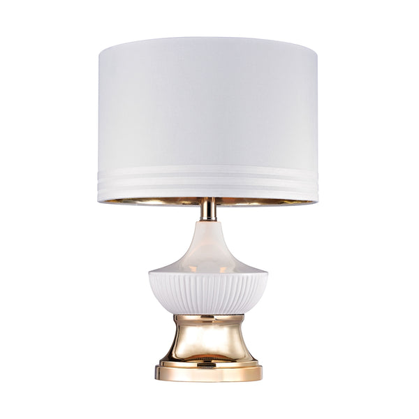Crown Lighting Dimond Collection White Ribbed 1 Light Genie Lamp In Gloss White And Gold - D2754