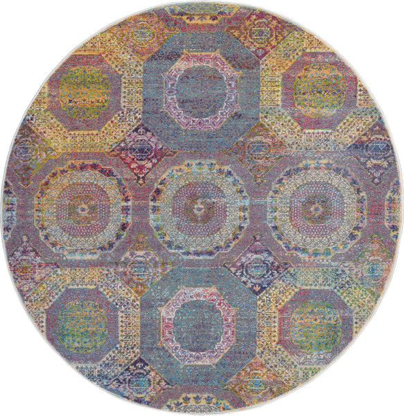 Nourison Ankara Global 4' Round Multicolor Boho Area Rug - 4' x 4' Round Multicolor Rug - ANR05 - 99446456915