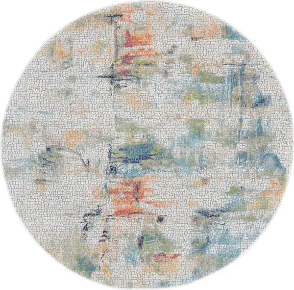 Nourison Ankara Global 6' Round White Multicolor Abstract  - 6' x 6' Round Ivory/Multicolor Rug - ANR09 - 99446474902