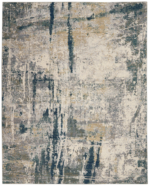 Nourison Artworks ATW05 Blue and Grey 8'x10'   Rug - 8' x 10' Rectangle Ivory/Navy Rug - ATW05 - 99446709110