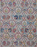 Nourison Ankara Global 9' x 12' Blue and Ivory French Country Area Rug - 9' x 12' Rectangle Ivory/Blue Rug - ANR06 - 99446457110